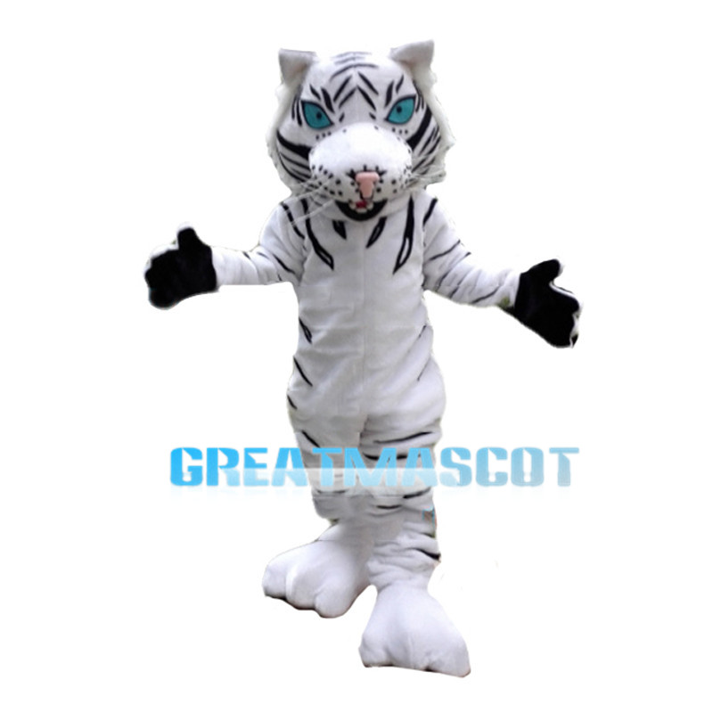 Robust Wild White Tiger Mascot Costume