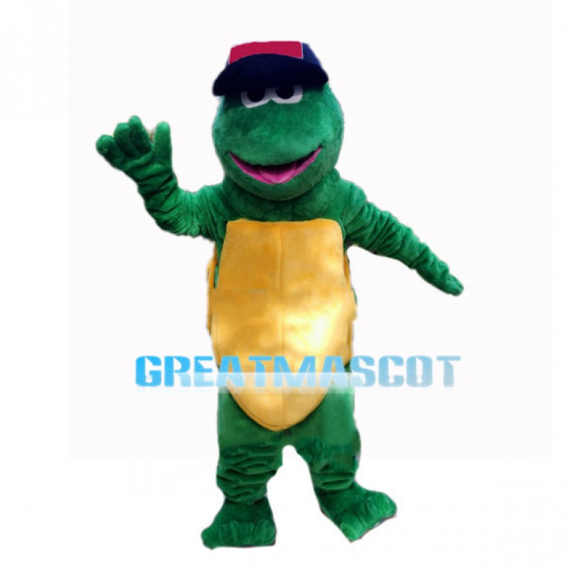 Green Turle With Baseball Cap Mascot Costume