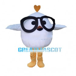 Little White Bird With Glasses Mascot Costume