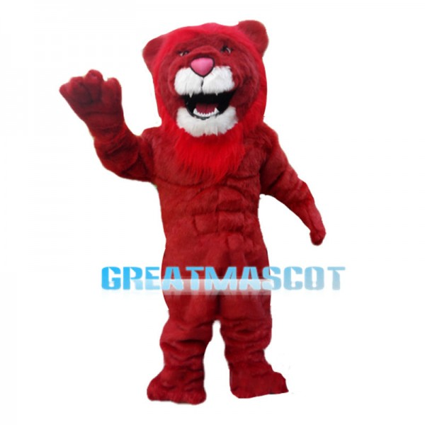 Fercious Red Muscle Lion Mascot Costume