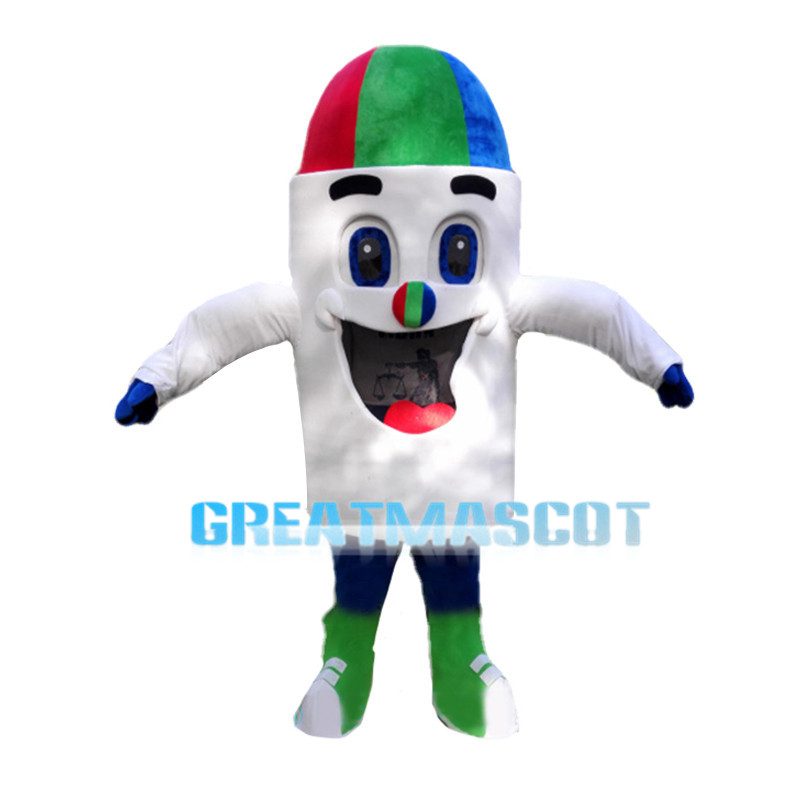 White Crayons With Colored Heads Mascot Costume