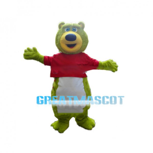 Agreeable Green Bear With Red Shirt Mascot Costume