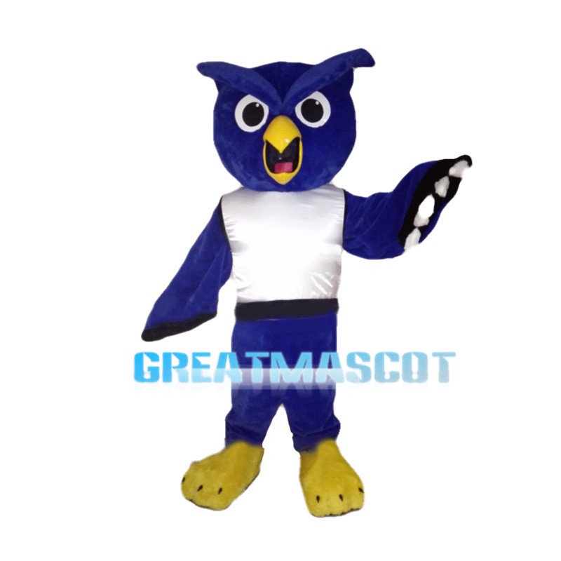 Surprised Blue Owl With White Vest Mascot Costume