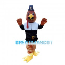 Brown Chicken Wearing Motorcycle Suit Mascot Costume