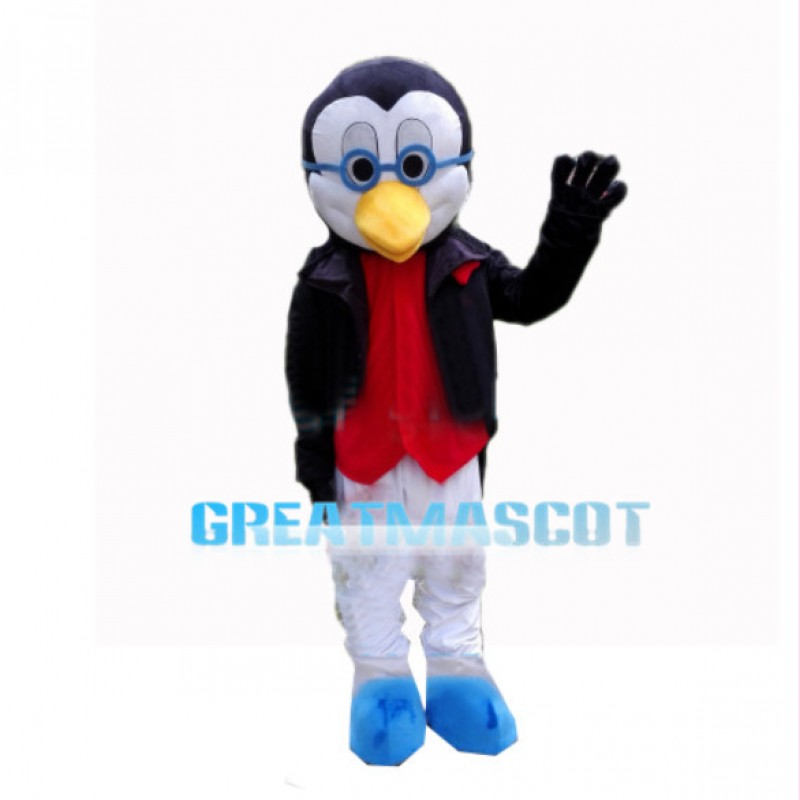 Wise Penguin With Jacket Mascot Costume