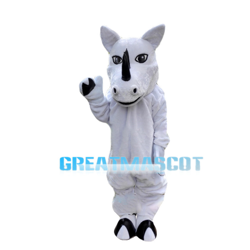 Tame Horse With Black Horn Mascot Costume