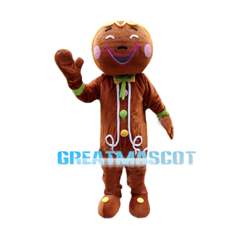 Happy Gingerbread Man With Pink Blush Mascot Costume