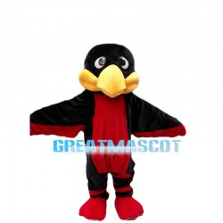 Fat Head Black & Red Bird Mascot Costume