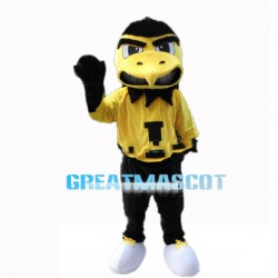 Big Mouth Eagle In Yellow Shirt Mascot Costume