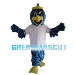 Blue Bird With White Shirt Mascot Costume