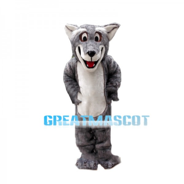 Thrilled Old Grey Wolf Mascot Costume