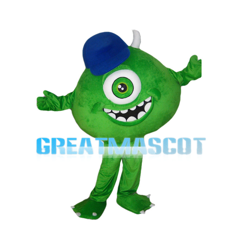 Green Monocular With Blue Cap Mascot Costume