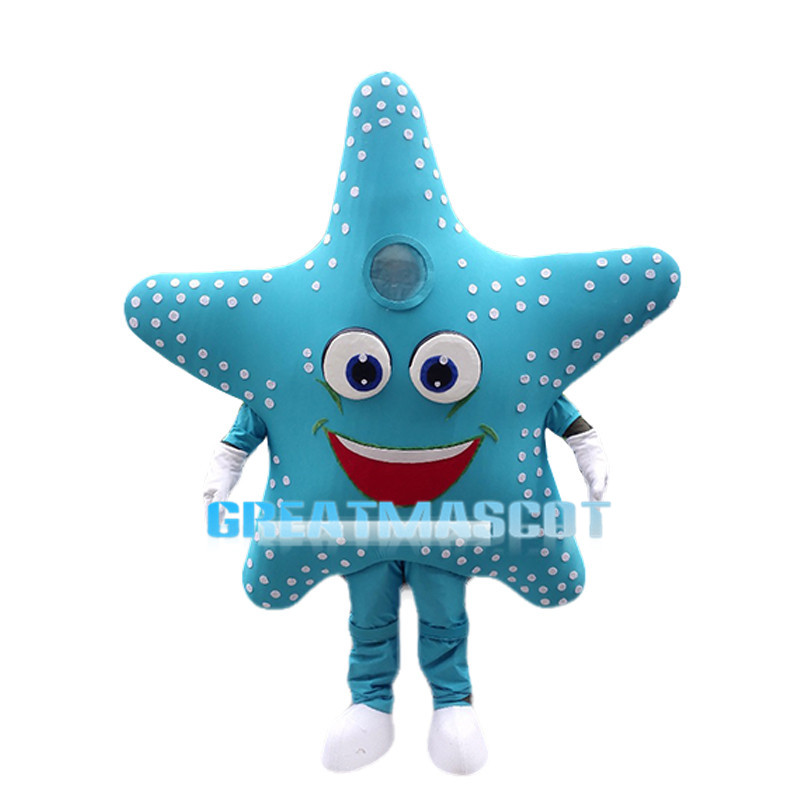 Cartoon Sky Blue Starfish Mascot Costume