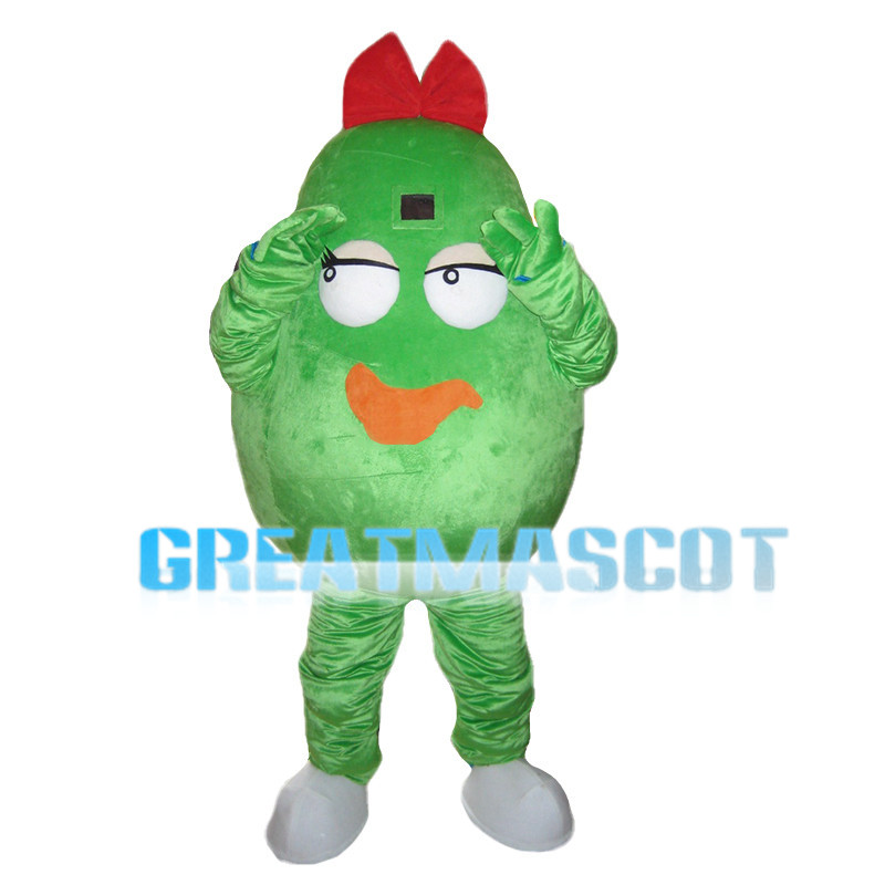 Cucumber With Red Bow Mascot Costume