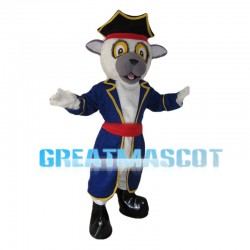 White Calf With Blue Coat Mascot Costume