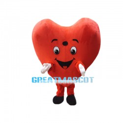 Cartoon Bright Red Heart Mascot Costume