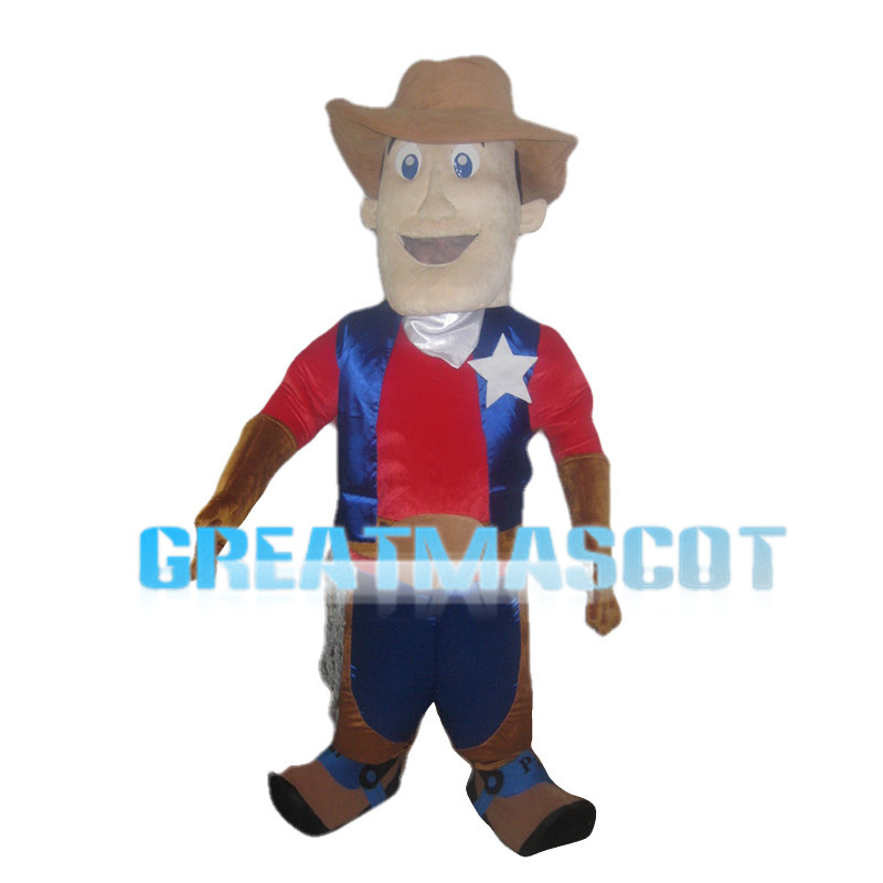 Square Face Man Wearing Brown Hat Mascot Costume