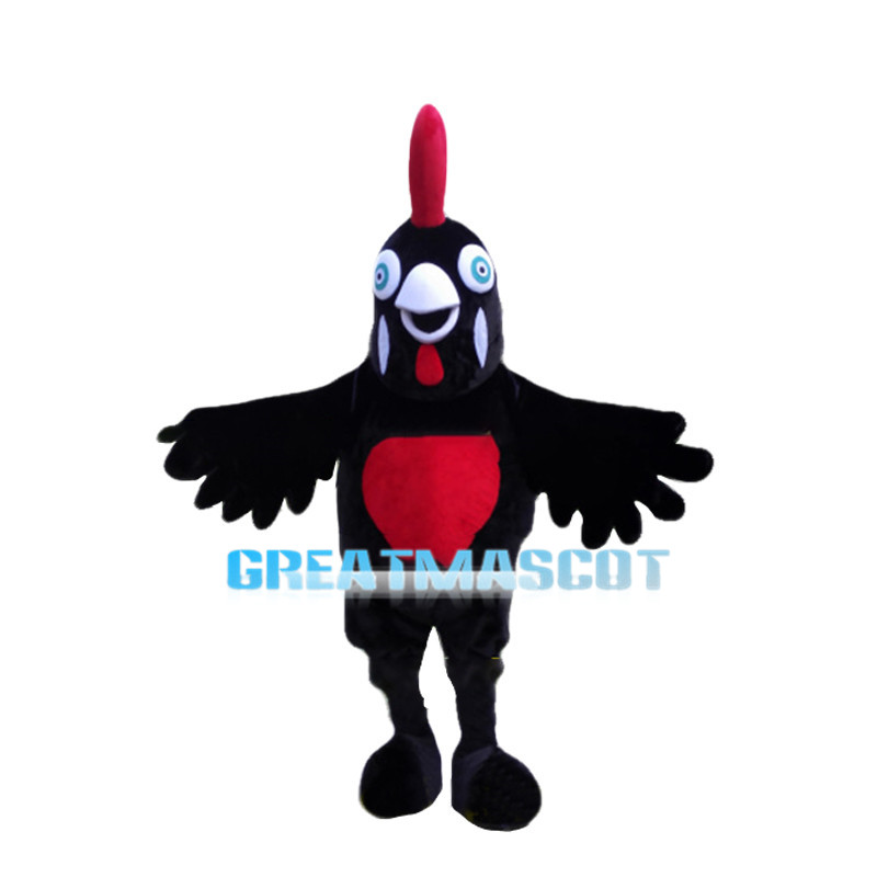 Vivid Black Chicken Mascot Costume