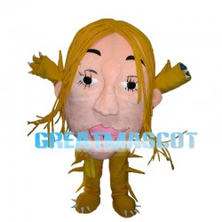 Big Face Monster With Yellow Hair Mascot Costume