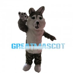 Furry Grey & White Wolf Mascot Costume