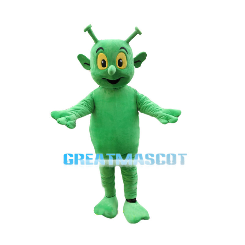 Green Alien With Antenna Ears Mascot Costume