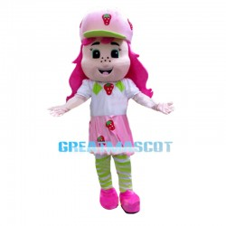 Adolescent Little Girl Wearing Strawberry Dress Mascot Costume