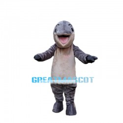 Peaceful Bright Gray Dolphin Mascot Costume