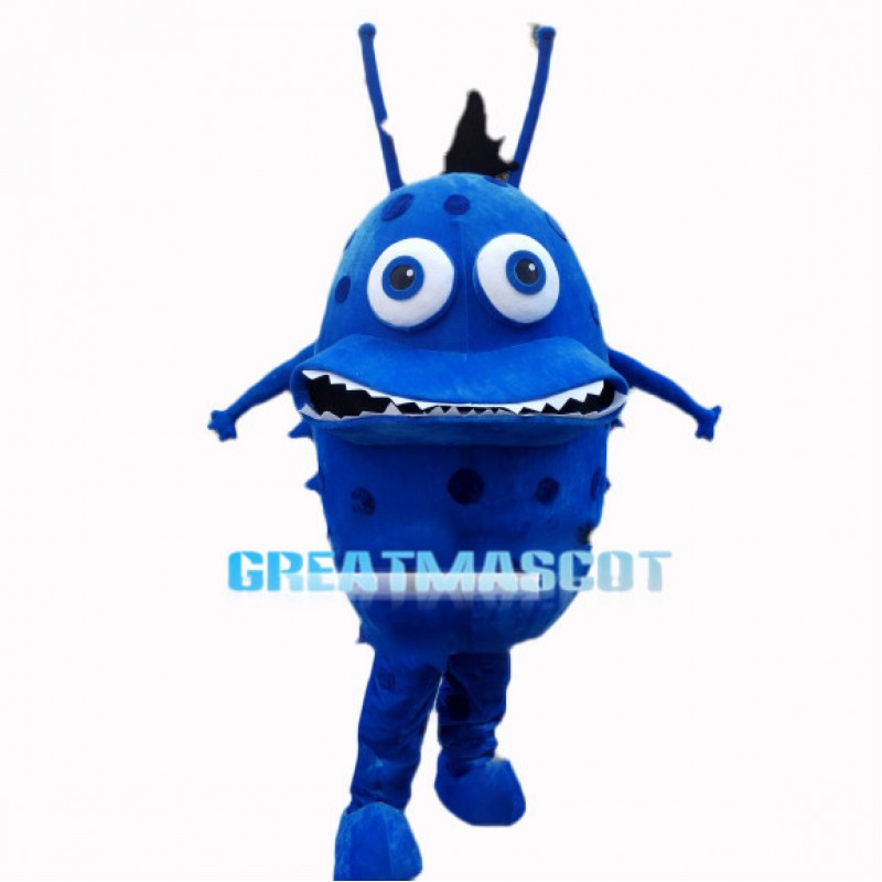 Scary Blue Bacterial Organism Mascot Costume