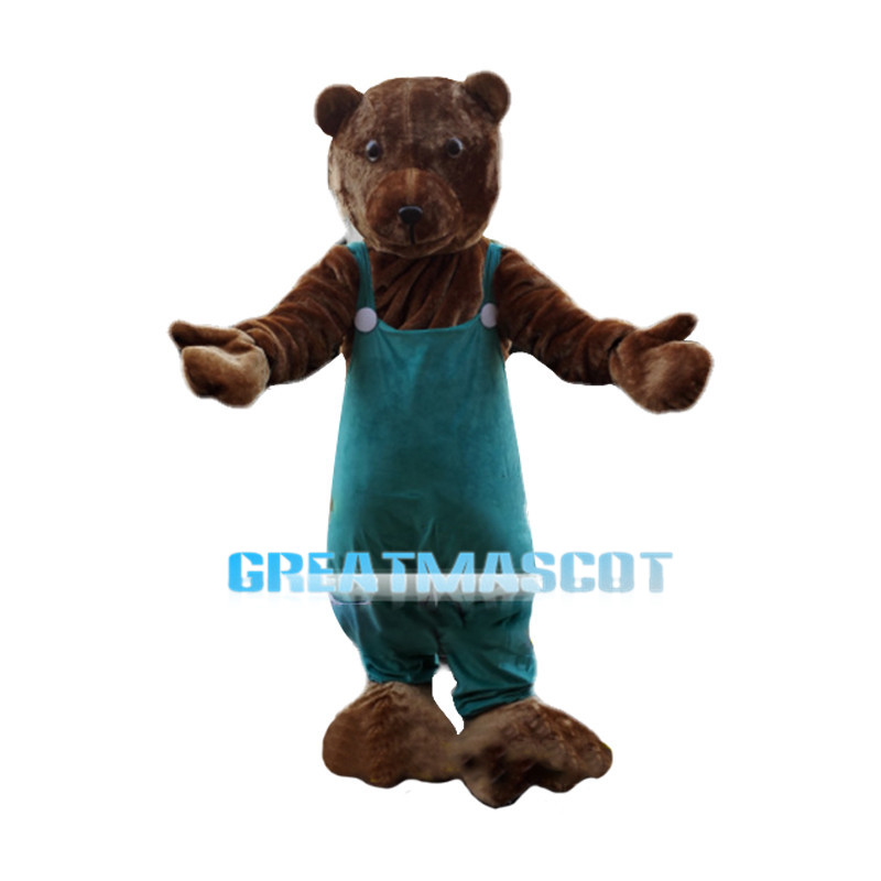 Tender Mother Bear Wearing Jumpsuit Mascot Costume