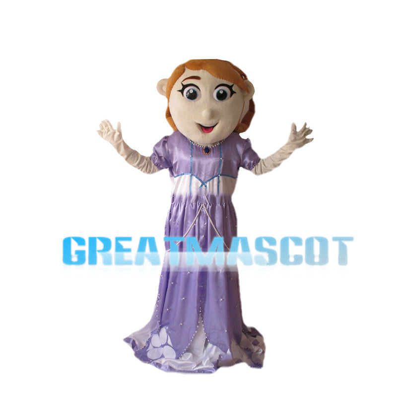 Noble Princess With Purple Dress Mascot Costume