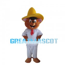 Happy Bear Wearing White Set Mascot Costume