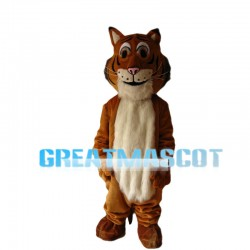 Brown & White Plush Tiger Mascot Costume