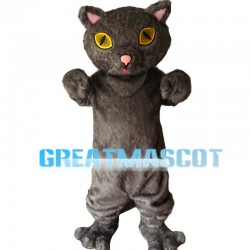 Grey Cat With Yellow Eyes Mascot Costume