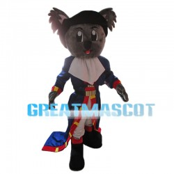 Grey Koala With Blue Coat Mascot Costume