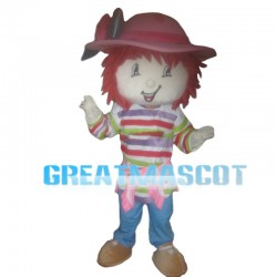 Little Girl With Colorful Striped Top Mascot Costume