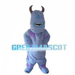 Light Blue Monster With Sharp Horns Mascot Costume