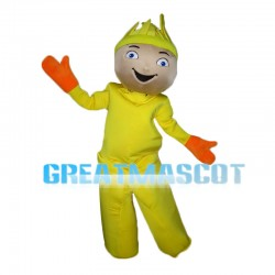 Yellow Doll Wearing Orange Gloves Mascot Costume