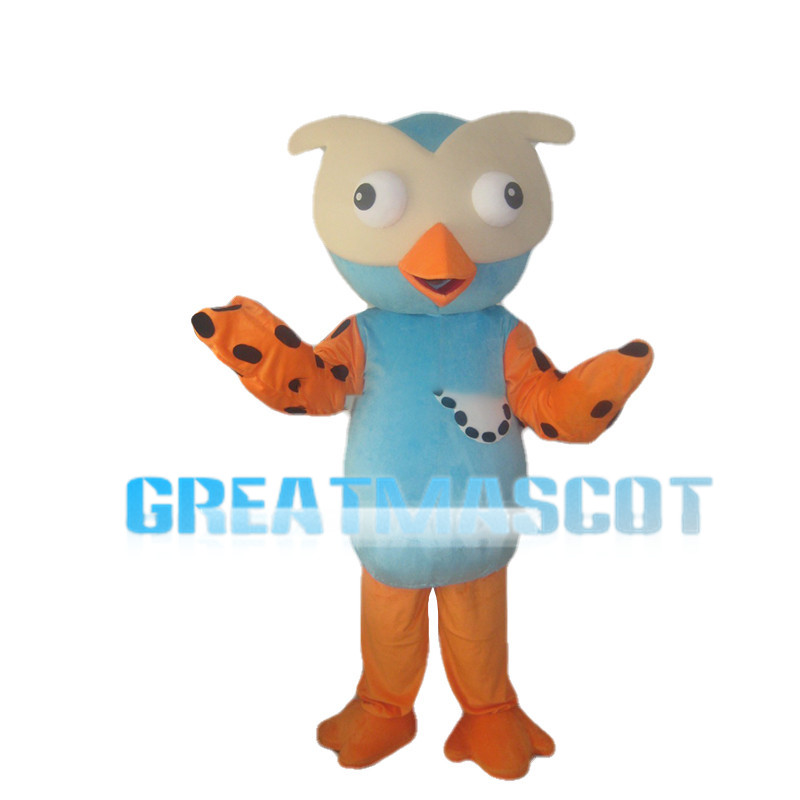 Blue Owl With Orange Beak Mascot Costume
