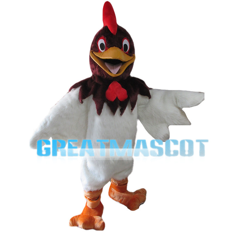 Lively Chicken With Brown Head Mascot Costume