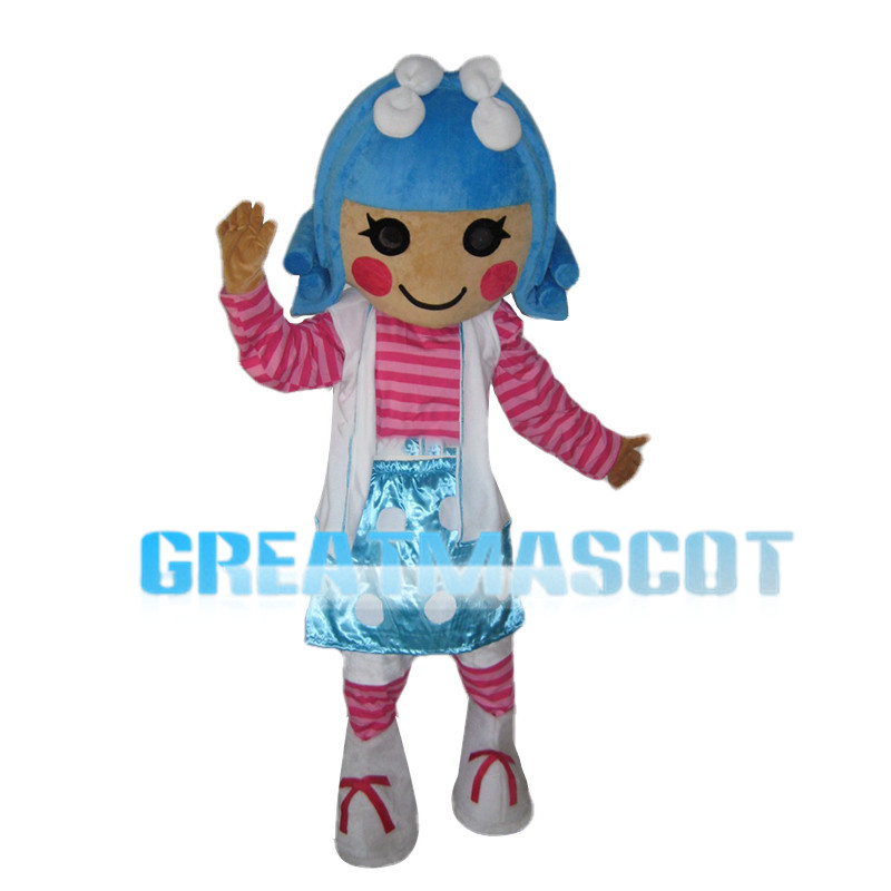 Optimistic Blue Hair Girl Mascot Costume