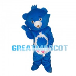 Blue Bear With Heart Shaped Nose Mascot Costume