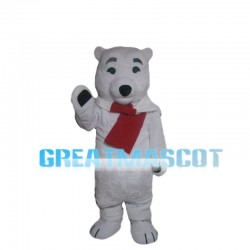 Polar Bear With Scarf Mascot Costume