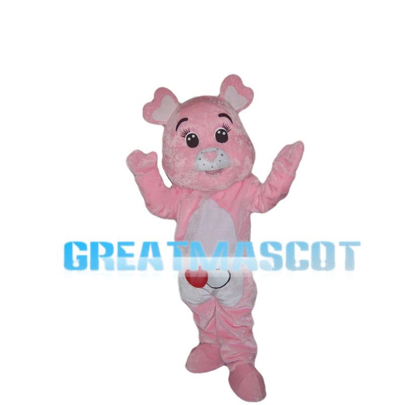Pink Bear With Heart Shaped Ears Mascot Costume