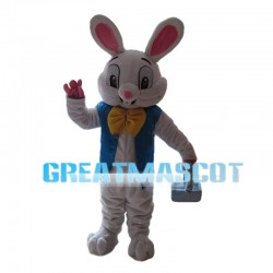 Easter Bunny With Blue Vest Mascot Costume