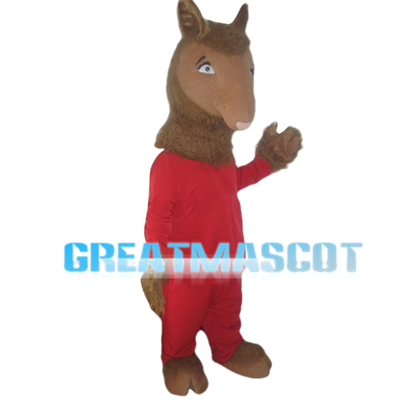 Brown Fawn In Red Set Mascot Costume
