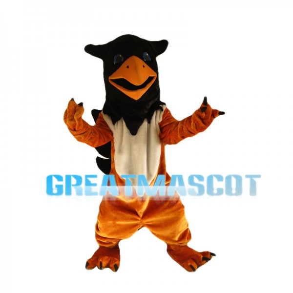 Brown Bird With Two Small Horns Mascot Costume
