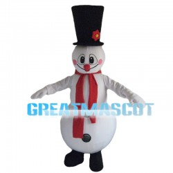Snowman With Flower Hat Mascot Costume