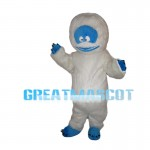 White Furry Monster With Blue Face Mascot Costume