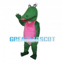 Green Crocodile With Pink Vest Mascot Costume