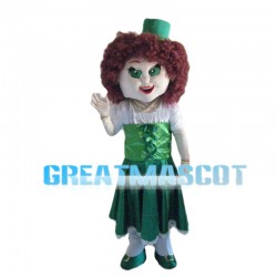 Female Singer With Purple Curly Hair Mascot Costume